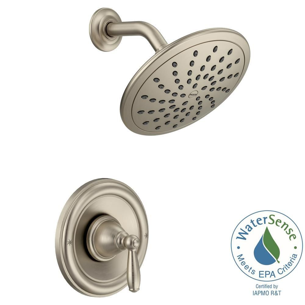 Moen Brantford Posi Temp Rain Shower Single Handle Shower Only Faucet Trim Kit In Brushed Nickel Valve Not Included T2252epbn The Home Depot Shower Faucet Tub And Shower Faucets Faucet