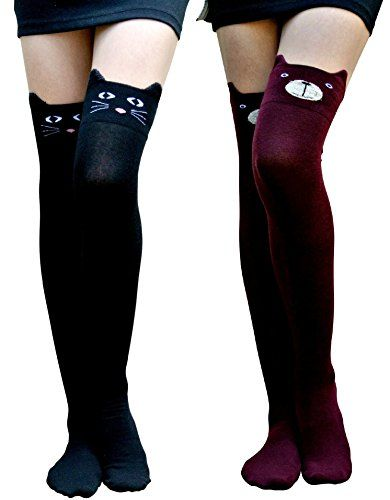 5b52af48fa2c cute cat knee high socks - AM Landen Girls 3D Animal Socks Over Knee Socks  Thigh High Knee High Tube Socks(BK.Cat Burgundy Bear)   Read more at the  image ...