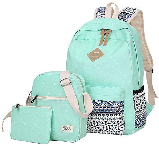 d56a89f8718a HONEYJOY Canvas Backpack Set 3 Pieces Kids Book Bag School Backpack Handbag  Purse Girls Teen (Large