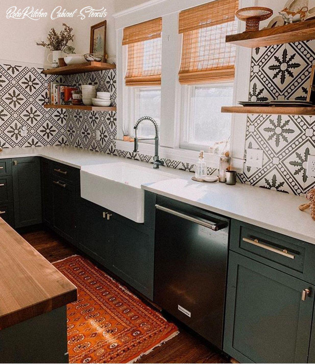 Boho Kitchen Cabinet Stencils In 2020 Home Decor Kitchen Kitchen Remodel Home Kitchens