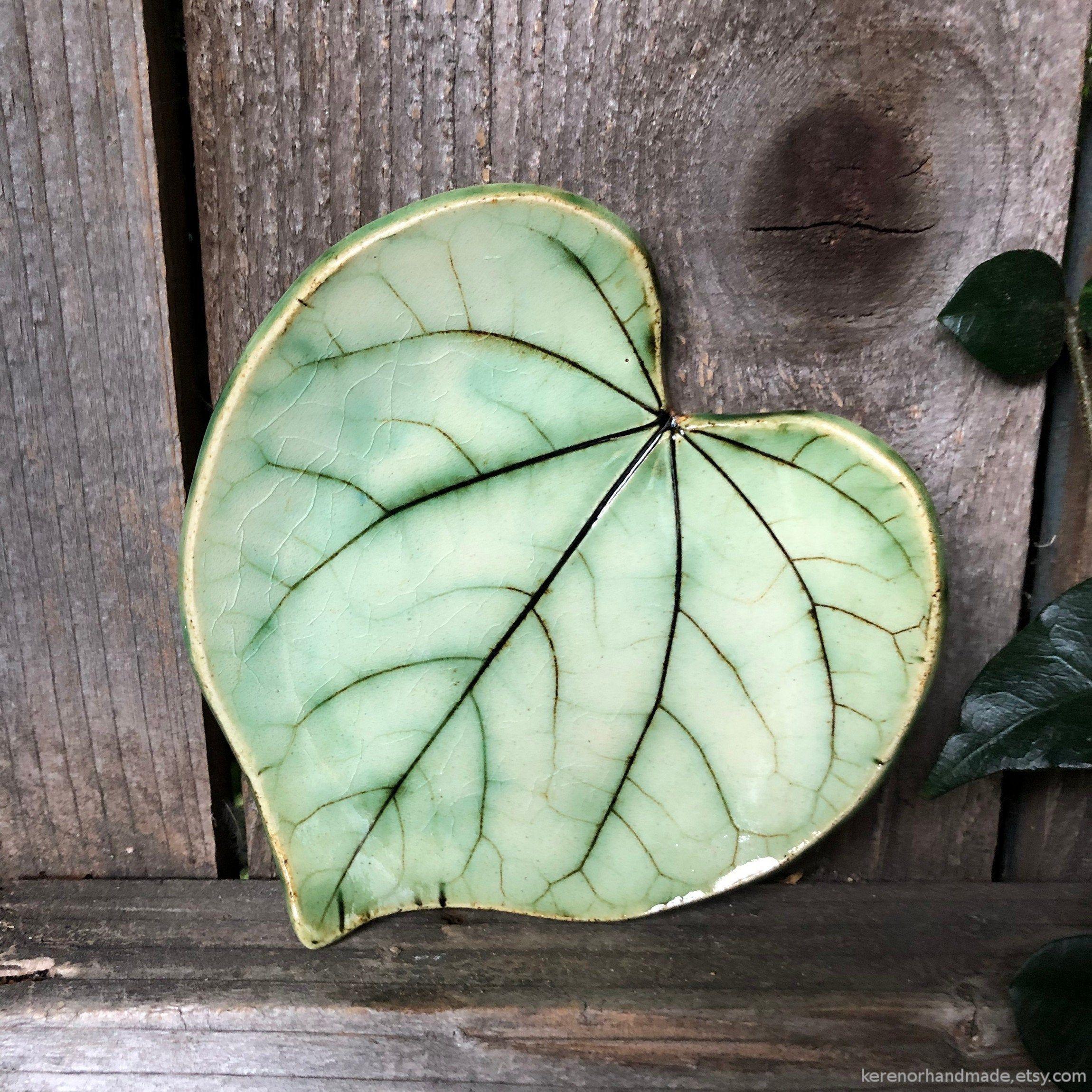 Leaf Shaped Handmade Clay Incense Burner