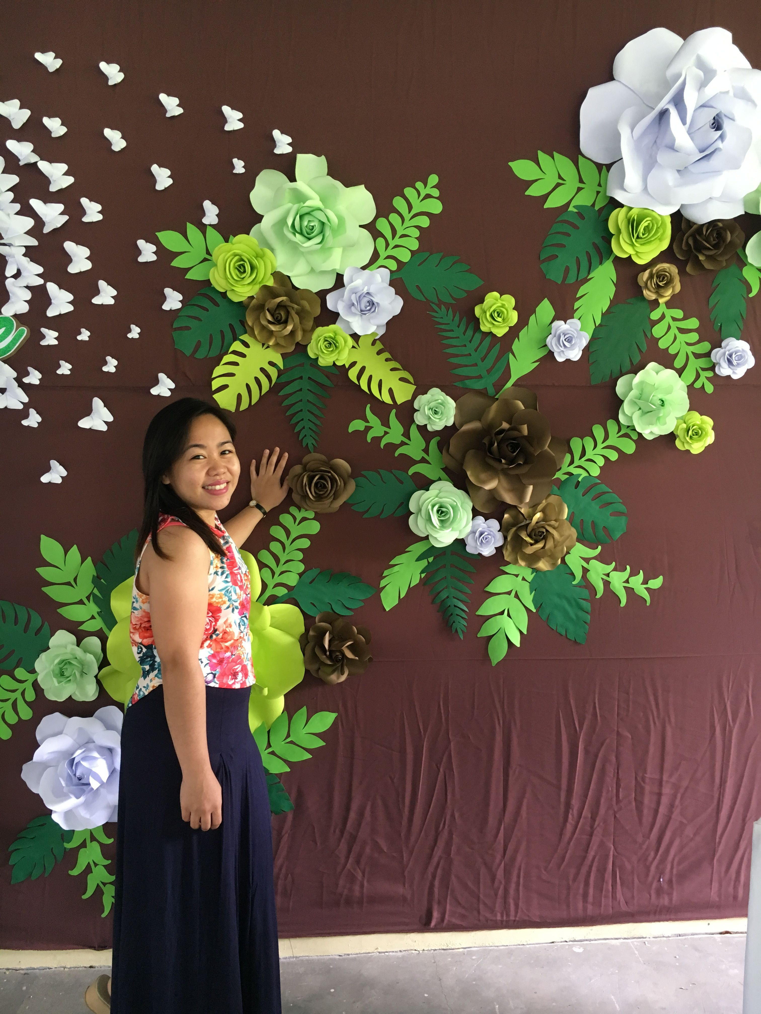 Paper Flower with leaves for back drop Yellow green Mint Green