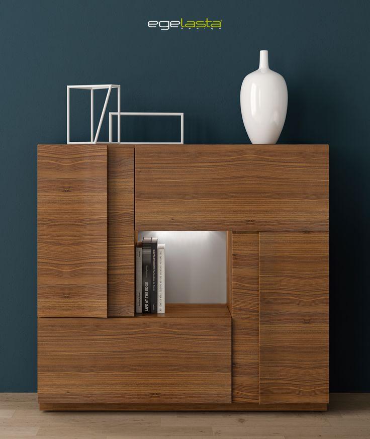 Muebles egelasta live mueble madera moderno aparador cuadrado con hueco nogal - Nogal americano muebles ...