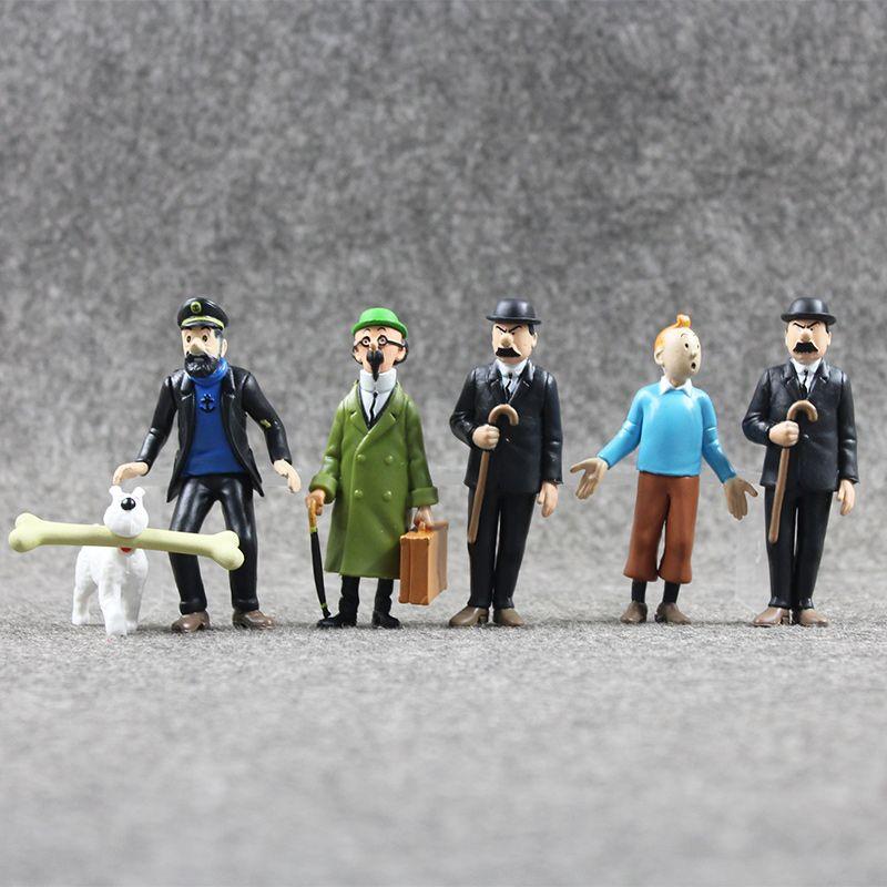 6 unids/lote Anime Cartoon The Adventures Of Tintin PVC Figuras de Acción Colección Modelo Juguetes 4-9 CM