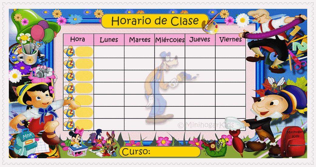 Resultado De Imagen De Horario De Clases Con Personajes Disney Horario De Clases Horario Escolar Reglas De Acentuacion