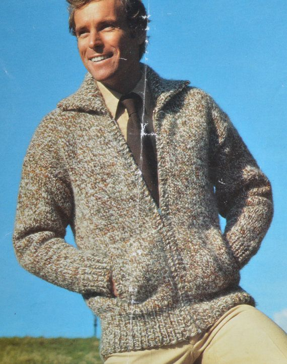 36dd83053 Men s zip up cardigan bomber jacket vintage knitting pattern pdf ...