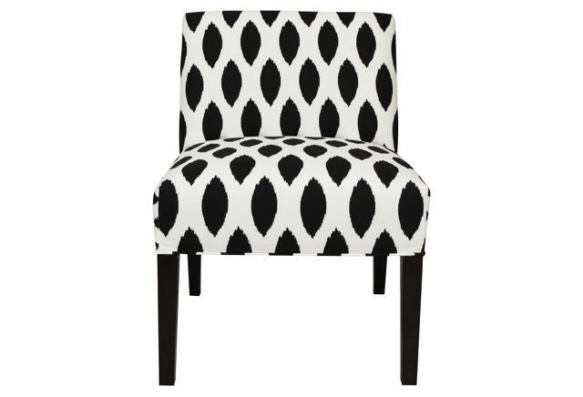Carly Armless Chair, Black/White
