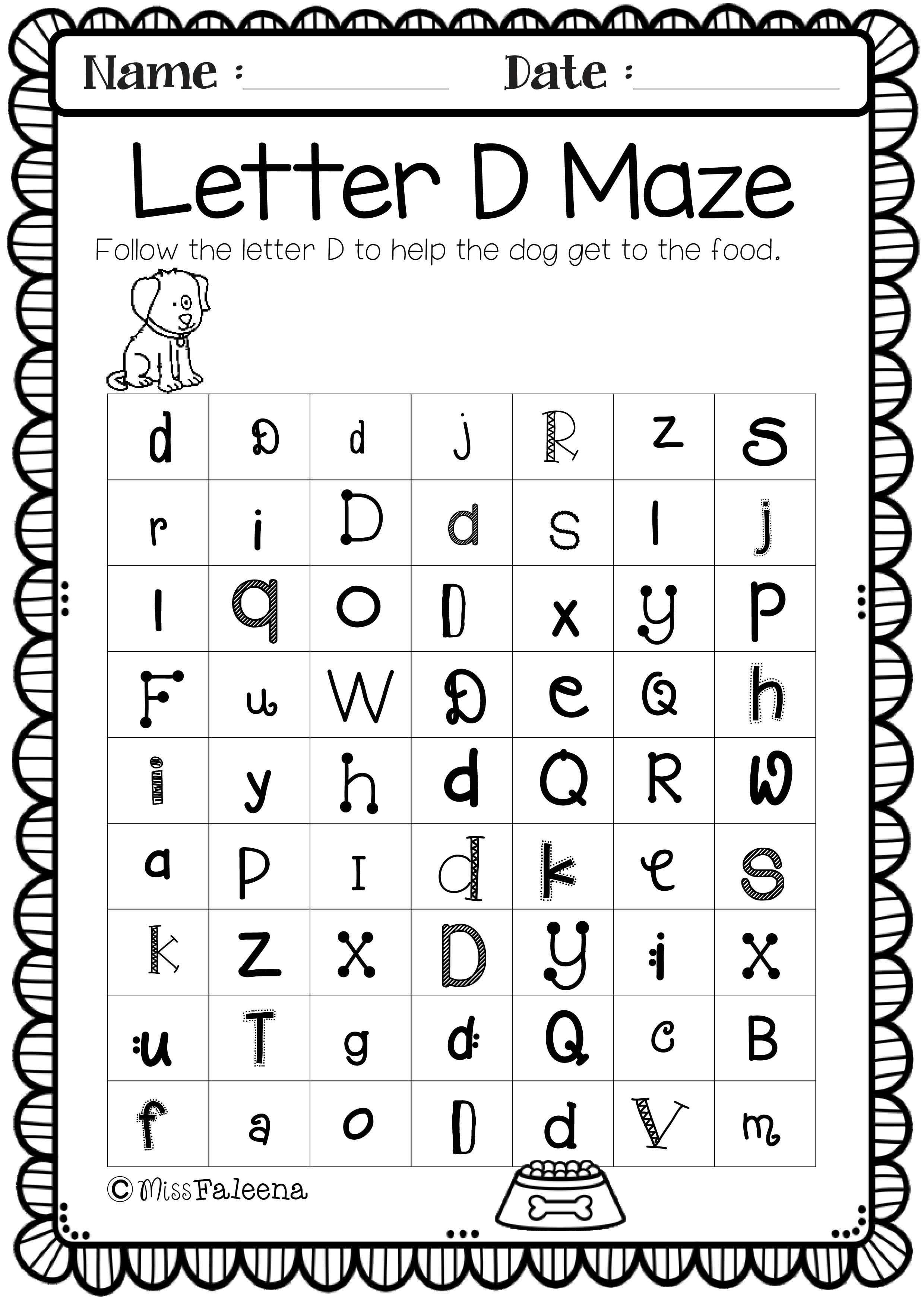 Letter D Preschool Worksheets
