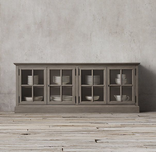 Grey Wood Buffet Table With Bigger Glass Doors