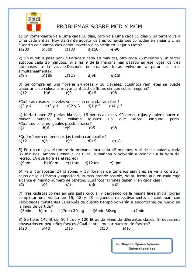 Problemas sobre mcd y mcm   Secundaria   Pinterest   Secundaria ...