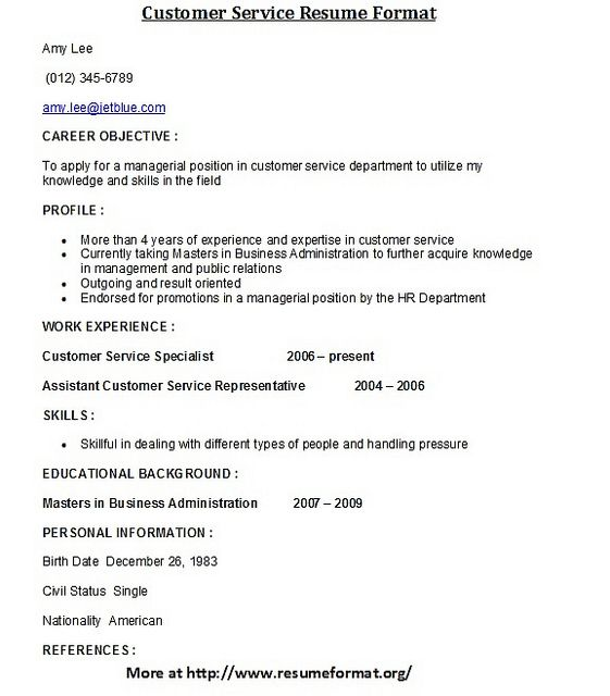 for more customer service resume formats visit www resumeformat