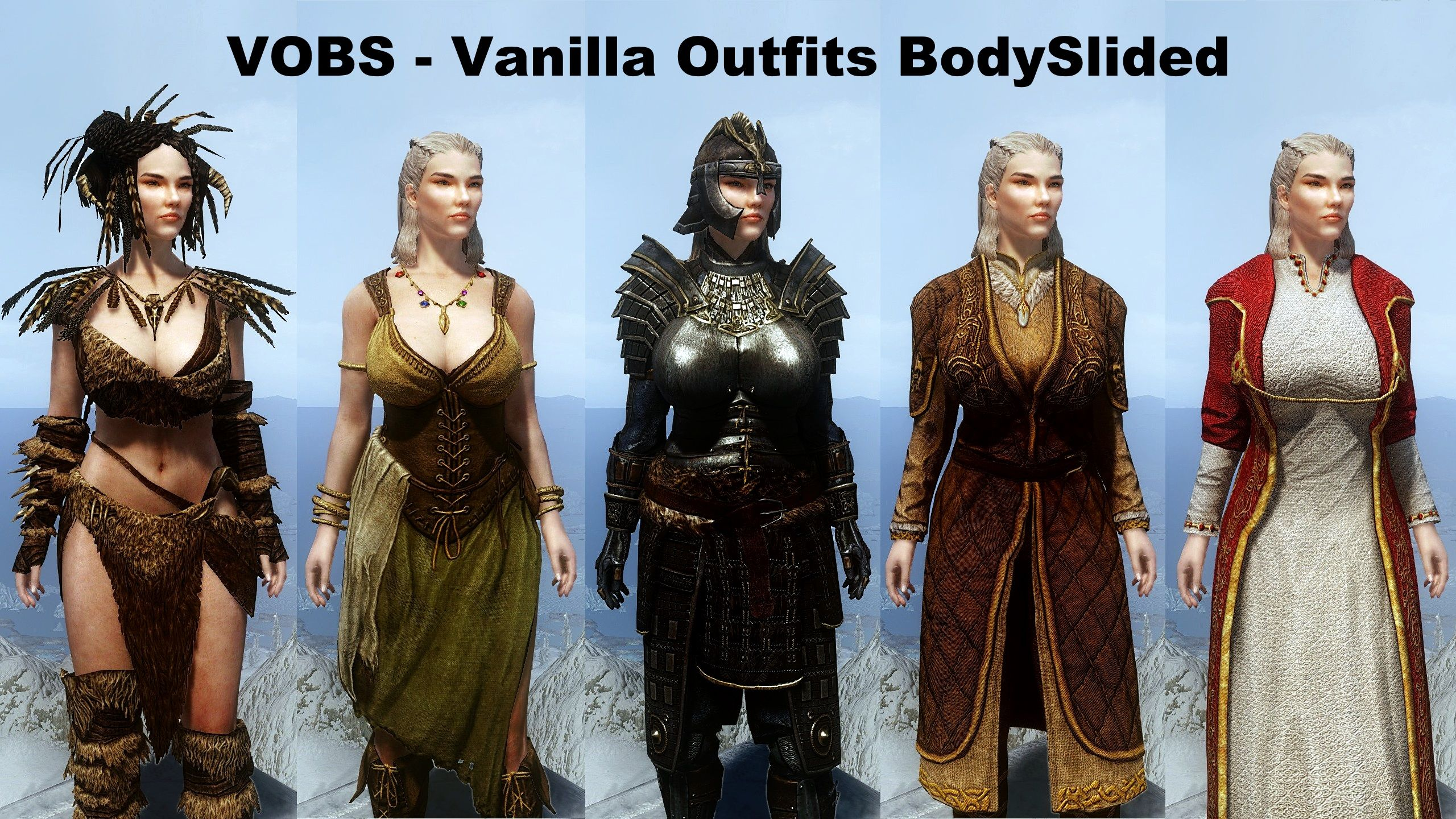 Vanilla Outfits BodySlided (with HDT-PE) for CBBE at Skyrim