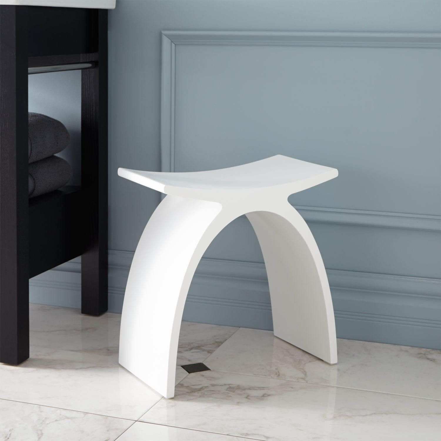 Cygni Resin Bath Stool - White Matte Finish - Shower Seats ...