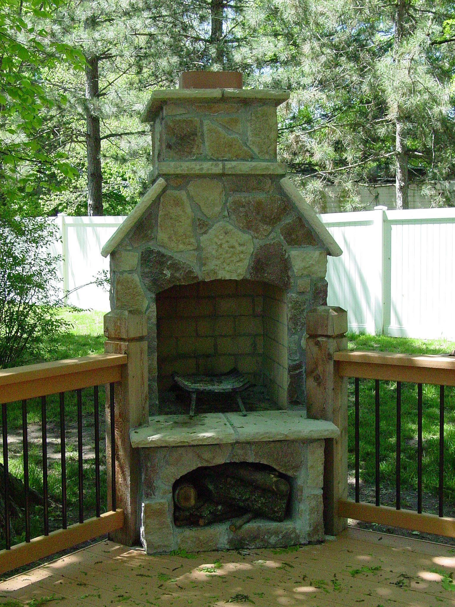 Masonry Kansas City Deck Builder Dw Decks Outdoor Fireplace Plans Deck Fireplace Outdoor Remodel