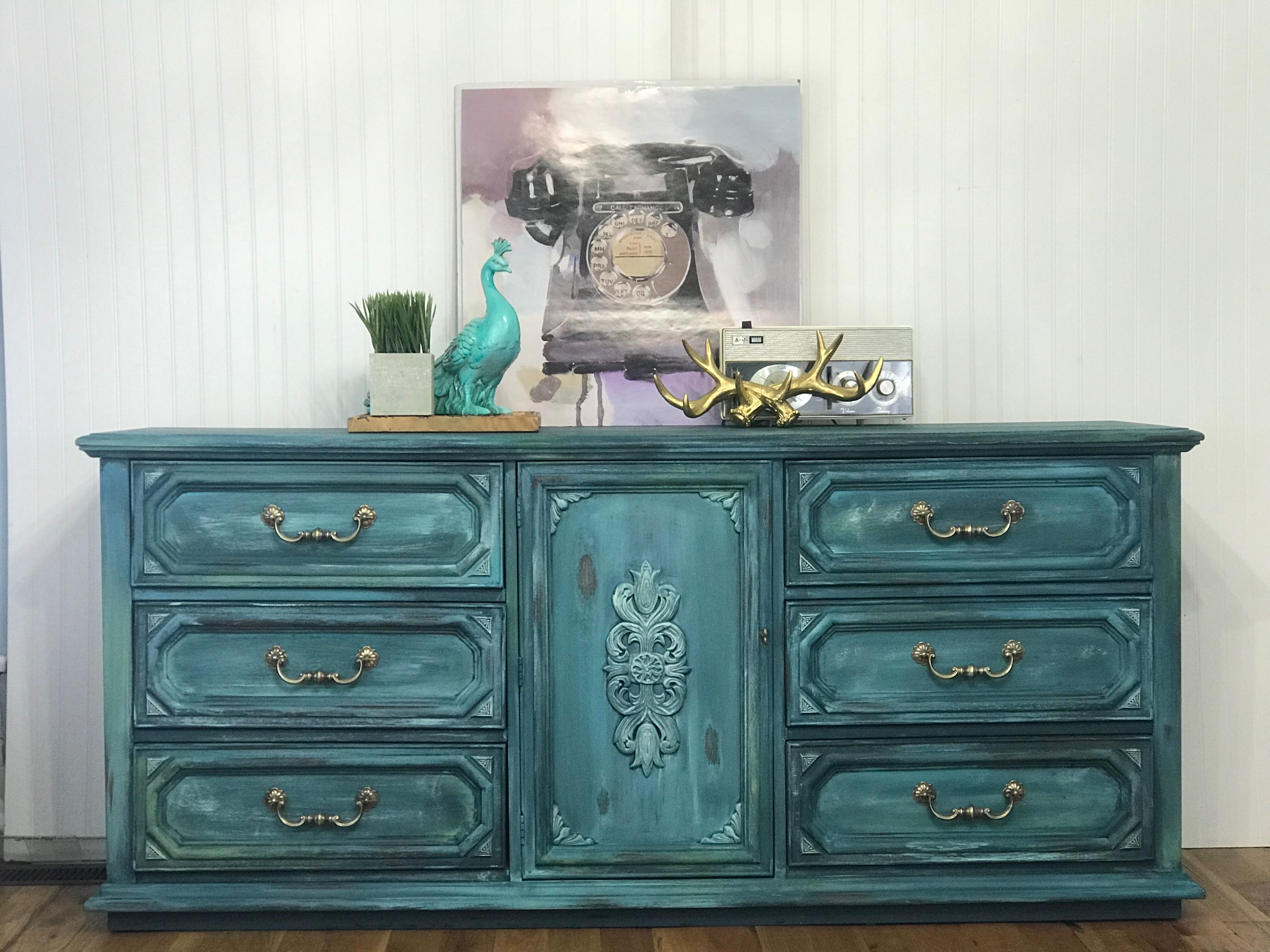 Boho Bohemian Style Dresser Painted In Diy Paints Upcycled Furniture