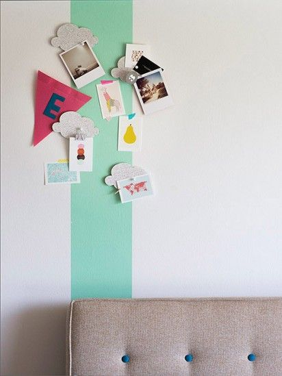 DIY Idea. Paint a single accent stripe with magnetic paint.
