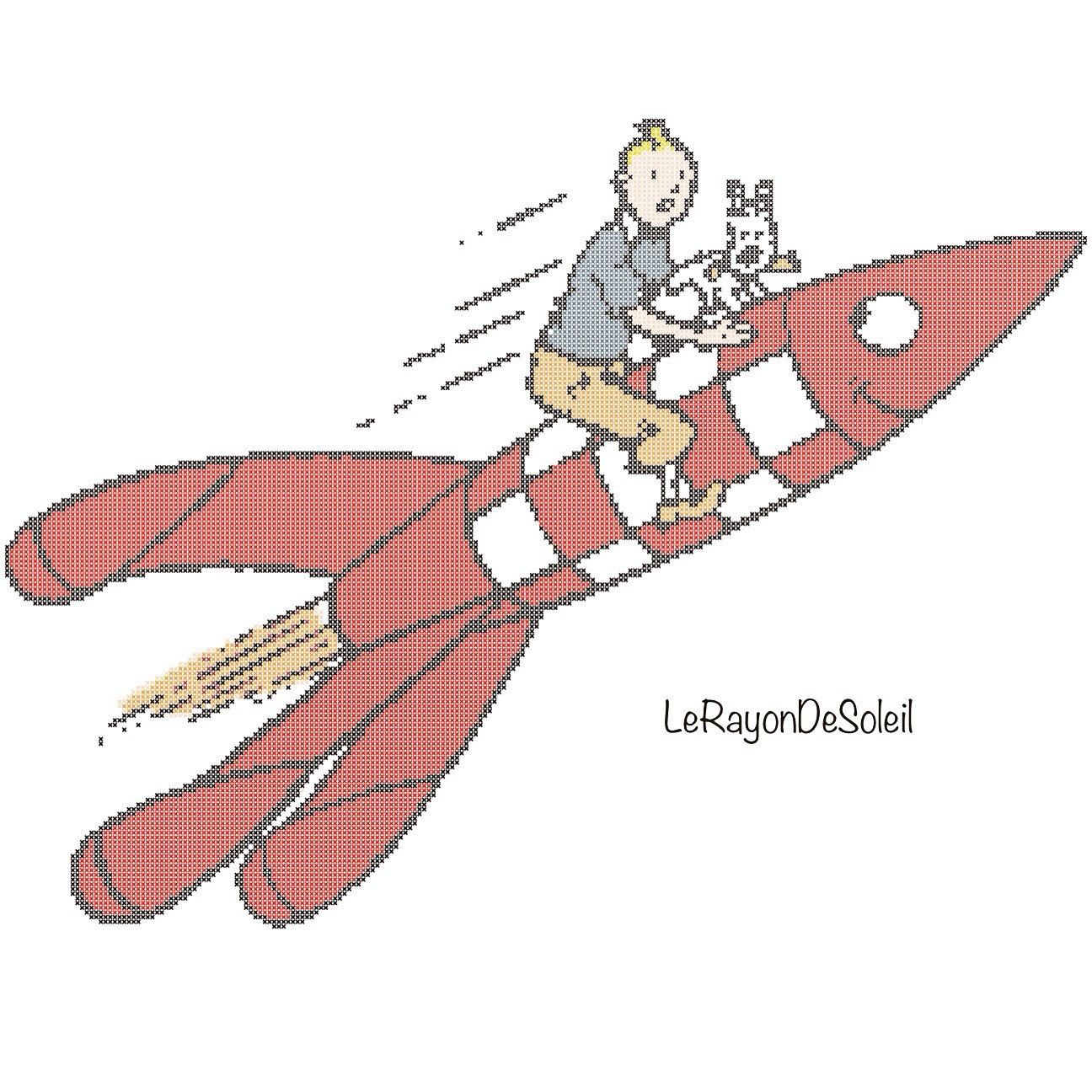 Tintin Milou Rocket Cross Stitch Pattern Instant Download Pdf