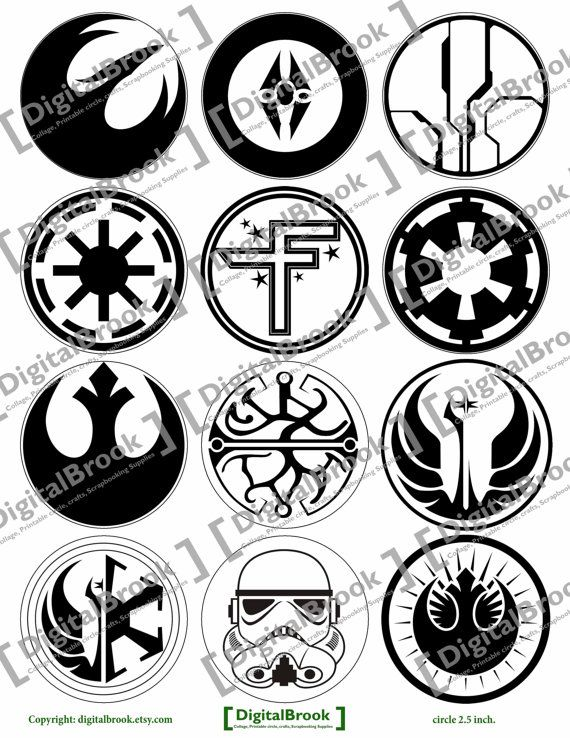 Digital Collage Sheet Star Wars Symbols Posters 2 5inch Printable