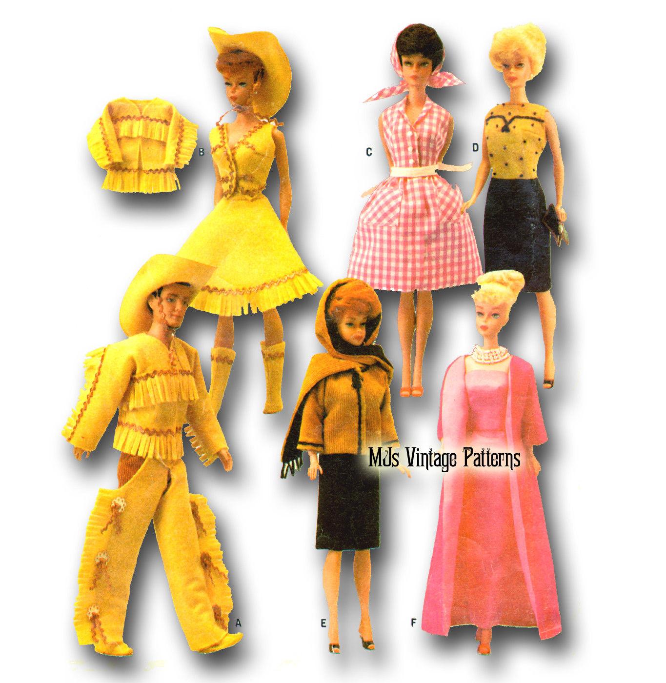 8 48 Vintage Doll Clothes Pattern Barbie Ken Midge Stacey Pj