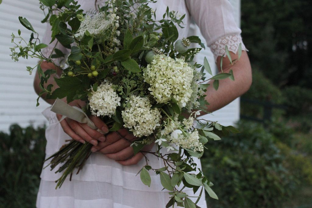White and green wild flowers. Would add small touches of yellow to ...