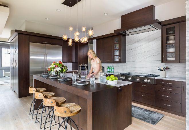 Modern Kitchen Design With Sleek Dark Walnut Cabinets Kitchen Perimeter And Island Countert Kitchen Cabinet Styles New Kitchen Designs Walnut Kitchen Cabinets