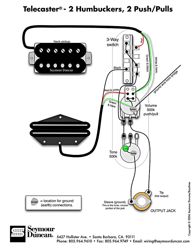 tele wiring diagram, 2 humbuckers, 2 push pulls telecaster build Stratocaster Wiring Modifications and the world's largest selection of free guitar wiring diagrams humbucker, strat, tele, bass and more! at Strat Bridge Tone Control Wiring Diagram