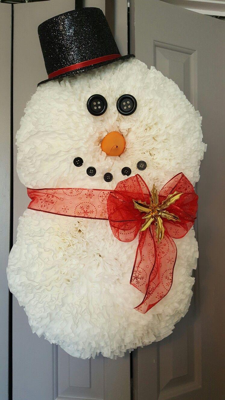 Coffee Filter Snowman Wreath An Amy Smith Creations