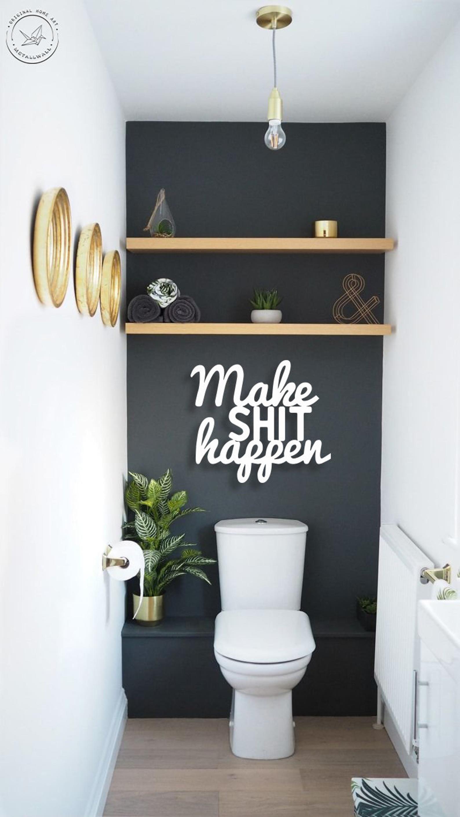 Make Shit Happen Metal Letters Wall Art Bathroom Wall Art Etsy Bathroom Wall Decor Metal Wall Letters Metal Letter Wall Art