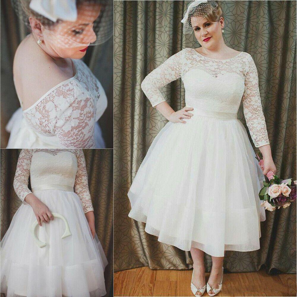 2020 的 details about plus size lace short wedding dresses
