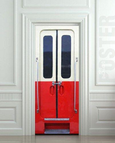 Door Sticker Train Carriage Railway Mural Decole Film Poster 31x79
