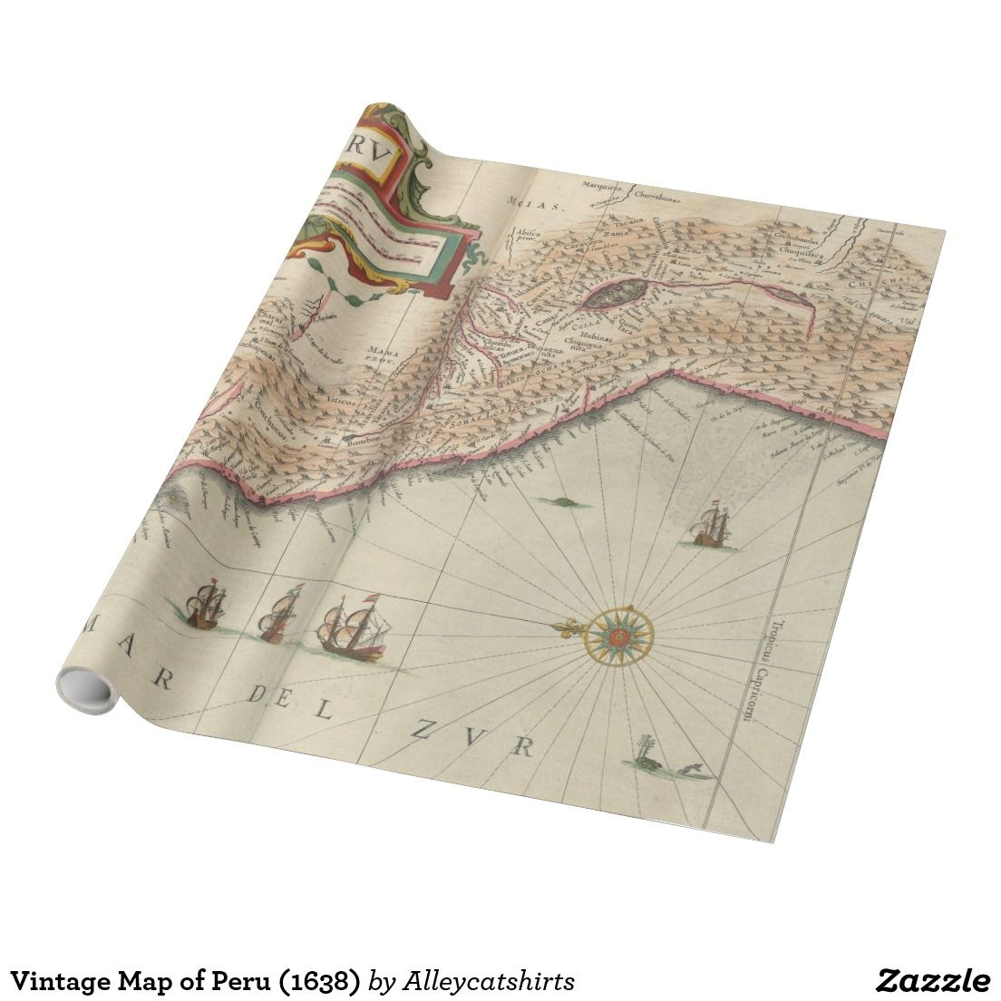 Vintage Map of Peru (1638) Wrapping Paper
