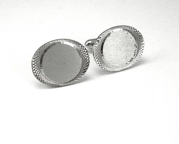 Vintage Diamond Etched Cufflinks Signet by NeatstuffAntiques, $25.00