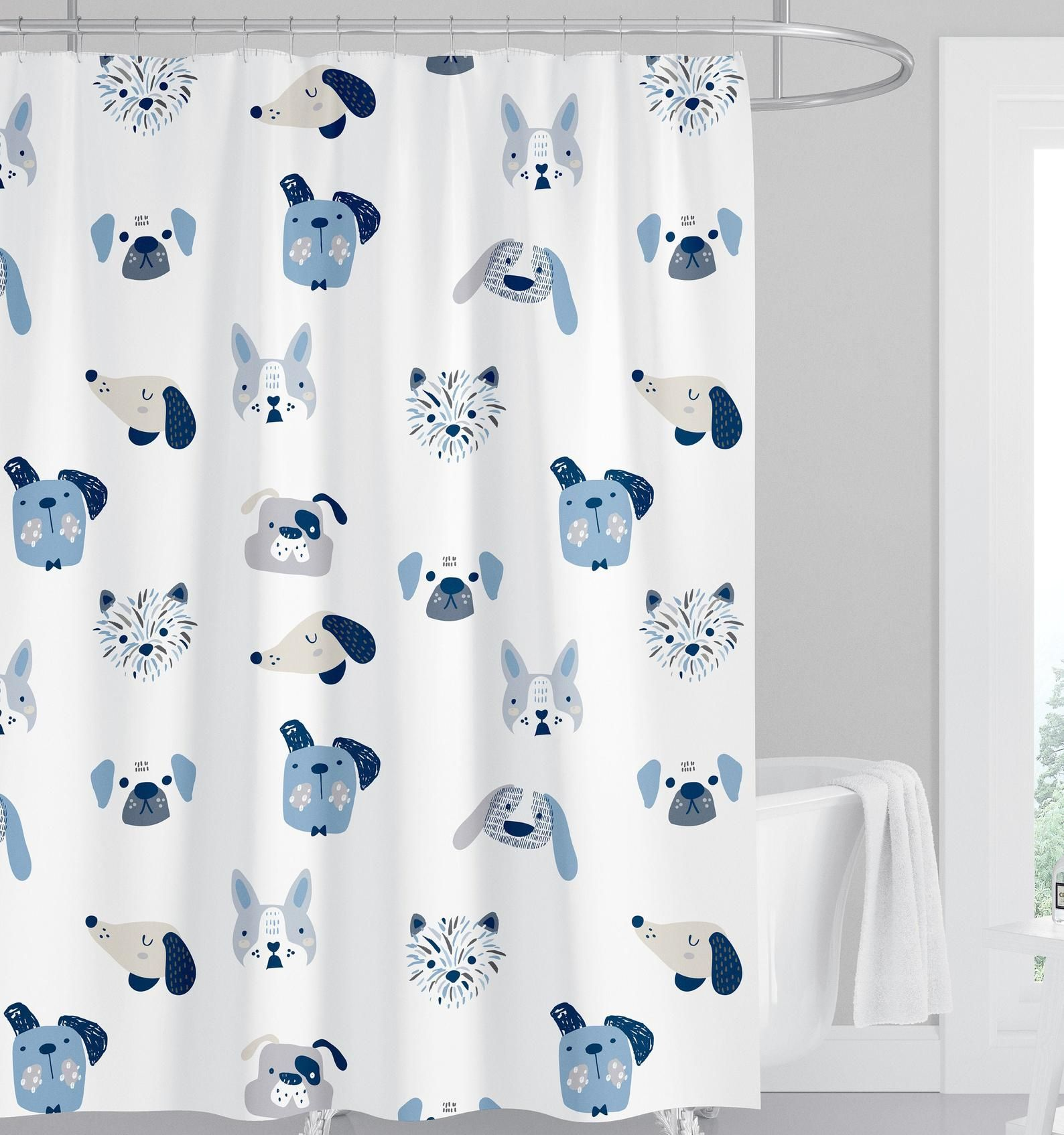 Kids Dog Shower Curtain Navy Boy Shower Curtain Puppy Shower