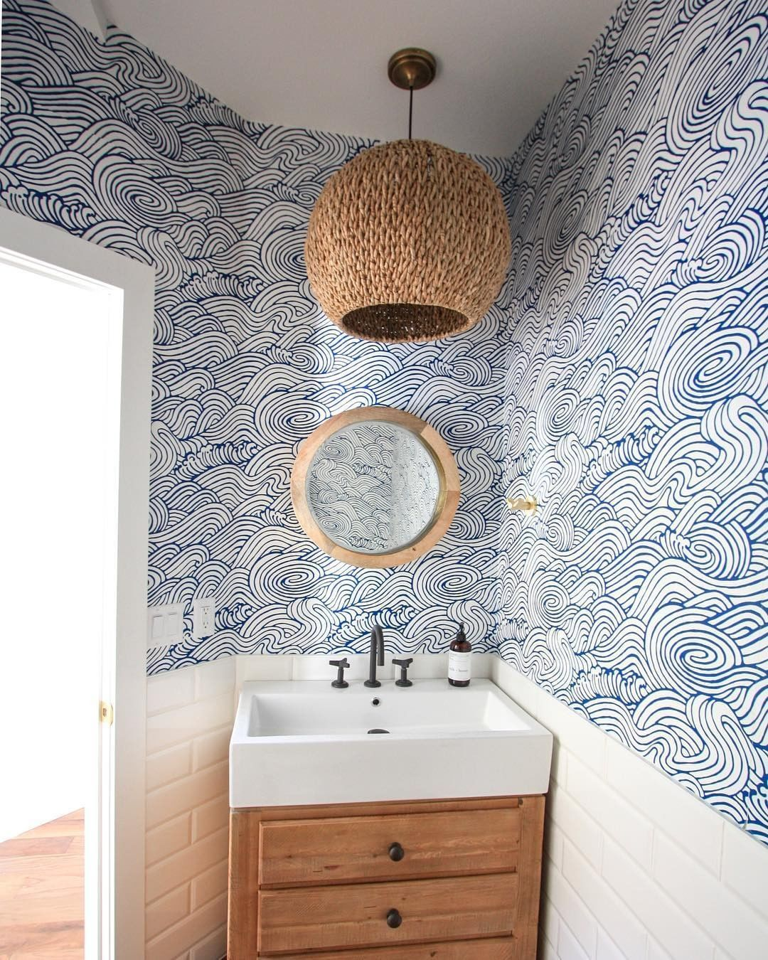 """Photo of DecorMatters on Instagram: """"Love the wallpaper and looove the bathroom! By: @homeinthechugach . • • • #interiorstyling #interior123 #houseandhome…"""""""