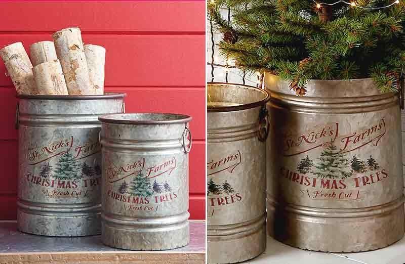 St Nick S Farm Galvanized Buckets Set Of 2 Galvanized Buckets Galvanized Christmas Bucket