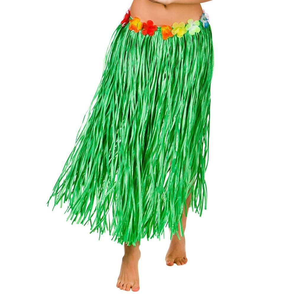 New Kids Adult Hawaiian Hula Grass Skirt Flower Wristband Party Beach Dress YJ