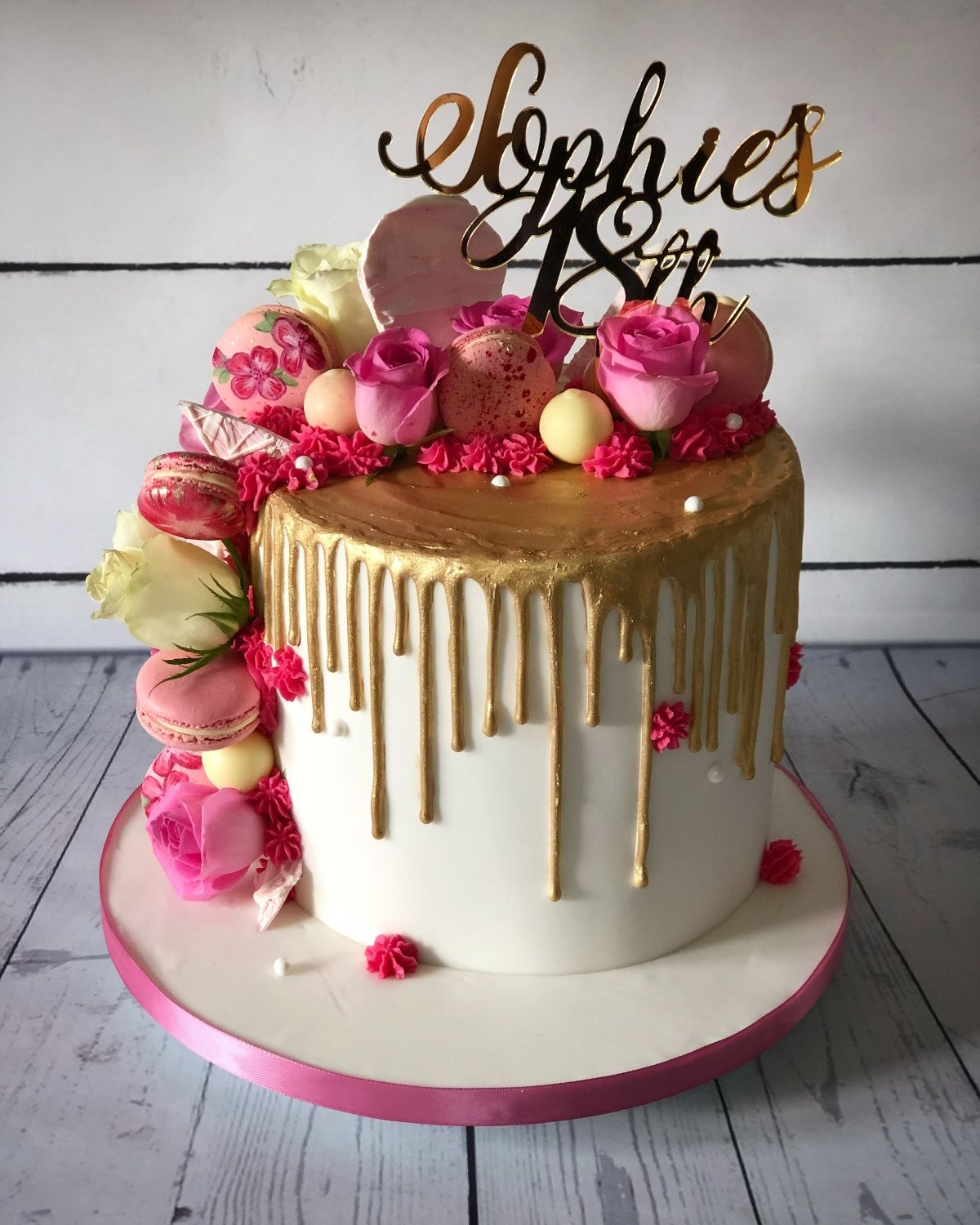 Gold Drip With Pink 18th Birthday Cake Cake By Maria Louise