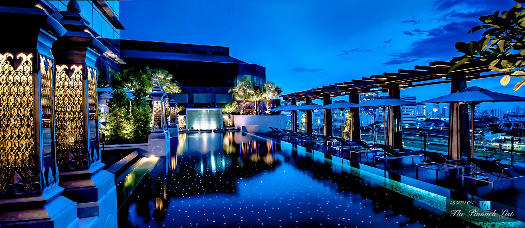 St Regis Luxury Hotel Bangkok Thailand Swimming Pool Night
