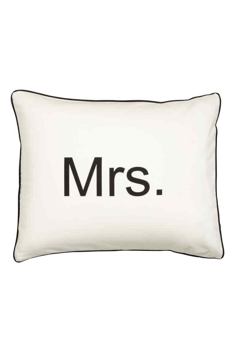 Fronha com texto estampado - Branco/Mrs - HOME | H&M 8€