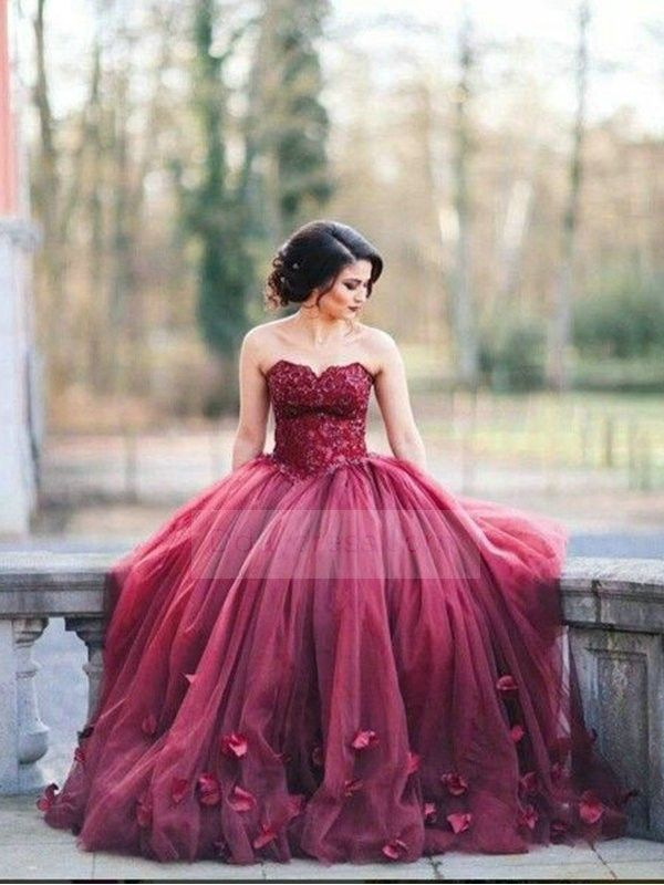Burgundy Sweetheart Neck 3D-Floral Appliques Ball Gown Prom Dress ...