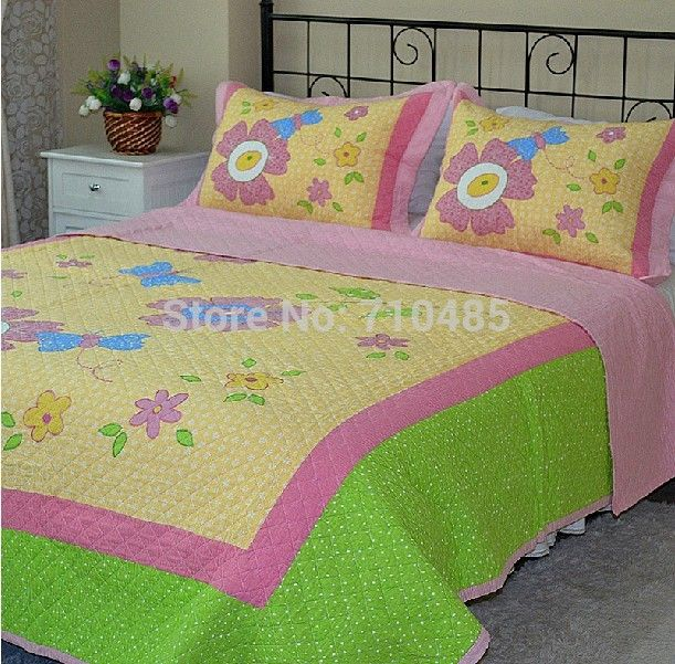 Cheap bedding lace, Buy Quality bedding babies directly from China set pot Suppliers: Cotton Floral Applique Patchwork Girl's Quilt SetMaterial:100% cottonFilling:100% cottonTwin size: 173