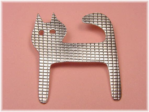 Woods Contemporary Sterling Silver Modernist Cat Artisan Brooch