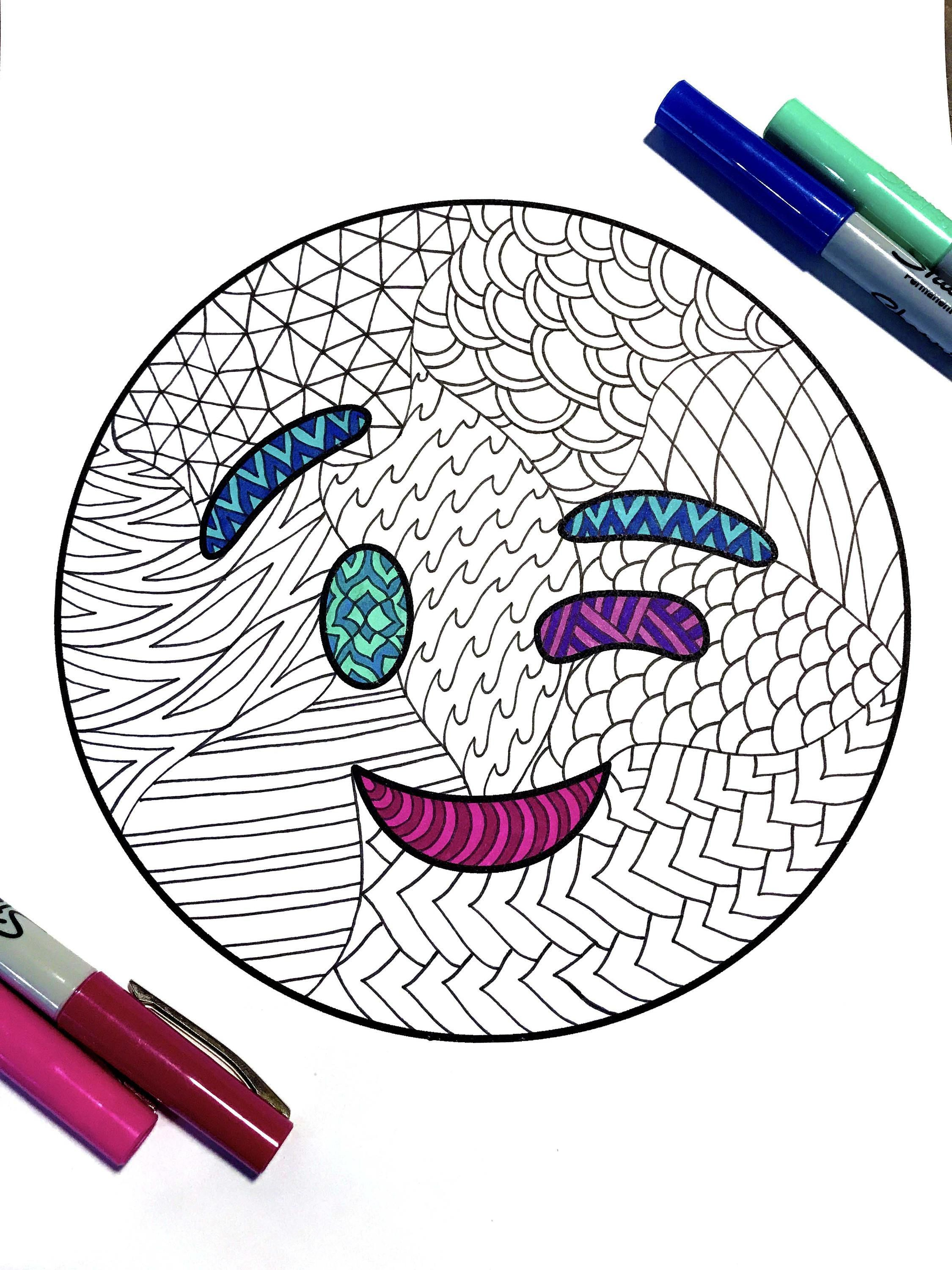 Wink Emoji Pdf Zentangle Coloring Page Zentangle Coloring Pages