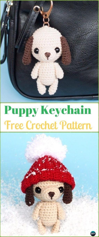 DIY Crochet Amigurumi Puppy Dog Stuffed Toy Free Patterns   Llaveros ...