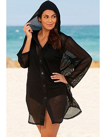 4e72e5a0eec Be a classic beauty on the beach wearing a Chic Nassau Plus Size Mesh Hoodie  by Beach Belle. A button down mesh hoodie conveniently provides you with ...