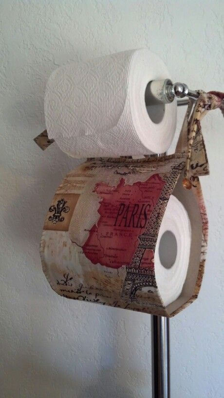 Paris France French Decor Theme Bathroom Extra Toilet Paper Roll Holder    Cloth/Fabric Handmade