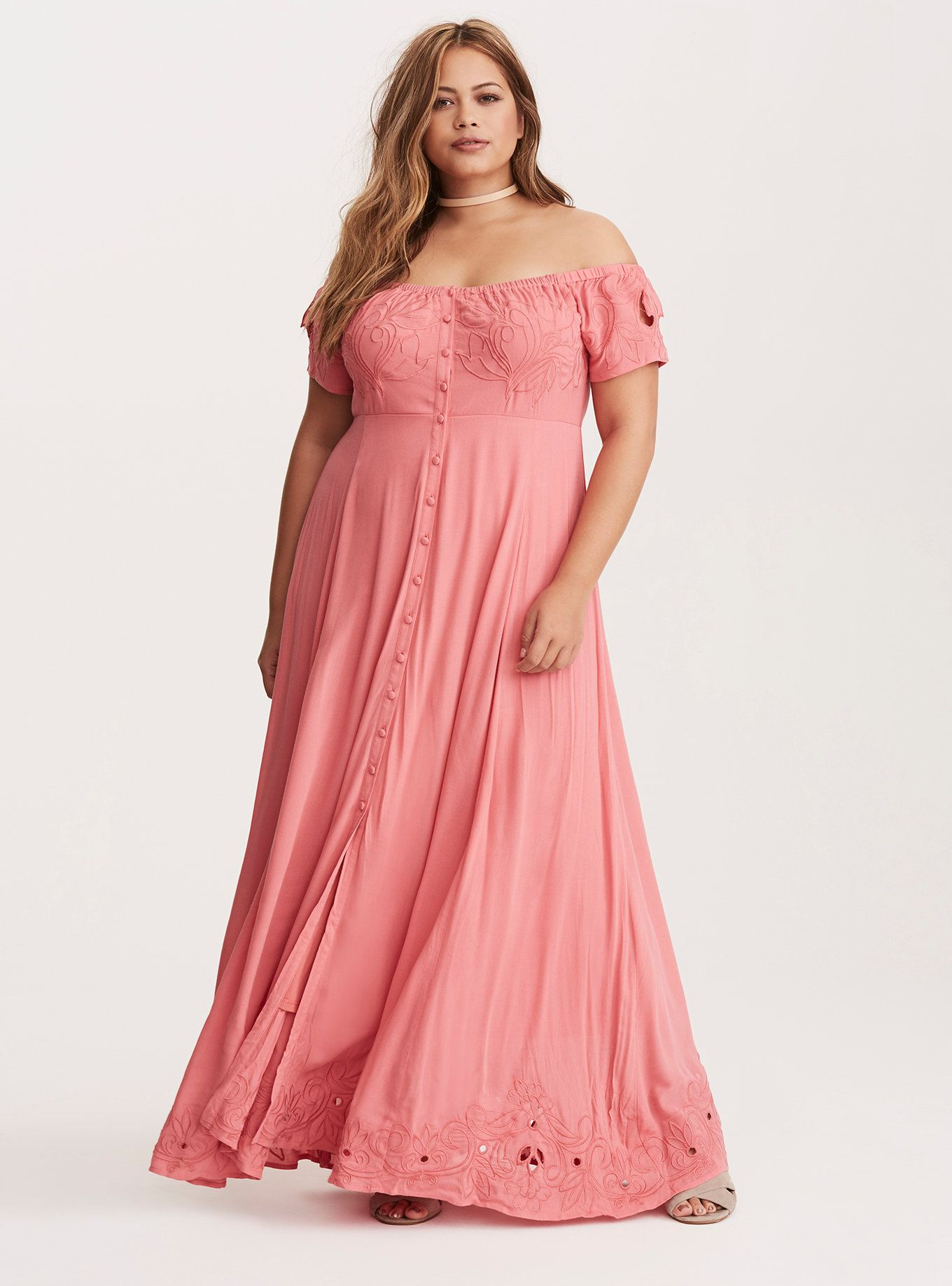 e558624b04eb Coral Embroidered Off Shoulder Maxi Dress (Short Inseam Now ...