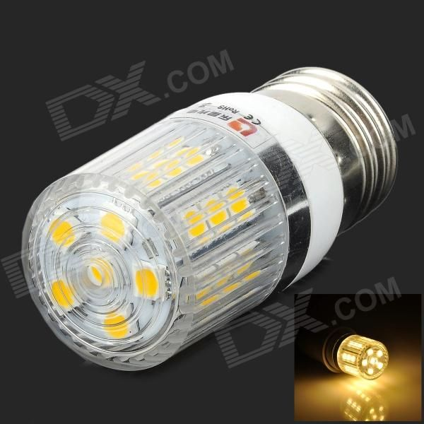 Brand: LEXING; Model: LX-YMD-057; Material: Plastic; Color: White + silver + transparent; Quantity: 1; Emitter Type: 5050 SMD; Total Emitters: 27; Power: 3 W; Color BIN: Warm White; Rate Voltage: 220~240 V; Chip Working Voltage: 3.0~3.4V; Luminous Flux: 160~200 lm; Color Temperature: 2700~3500 K; Wavelength: N/A nm; Connector Type: E27; Application: Lighting and decoration; Packing List: 1 x Corn lamp; http://j.mp/1pRcMhU