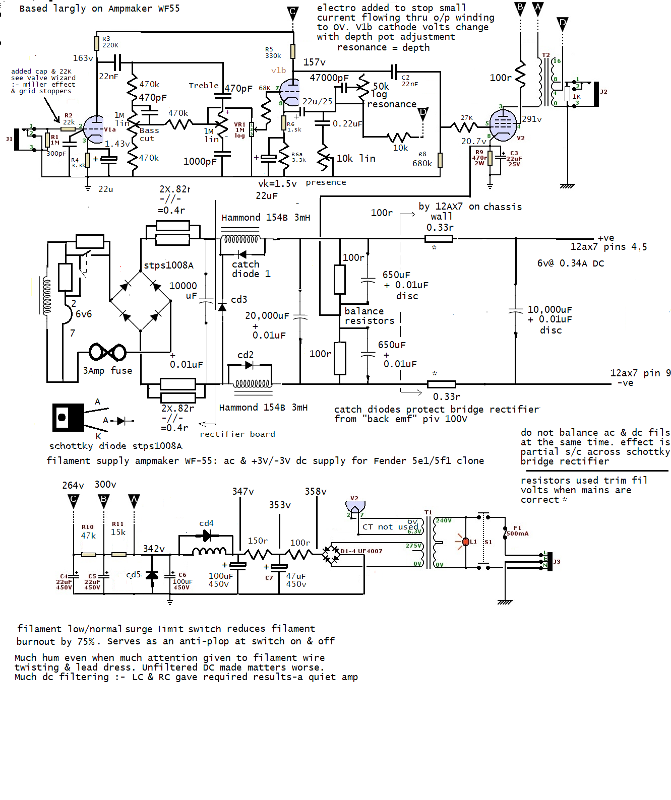 Same As Origional Circuit With A Few Voltages Added