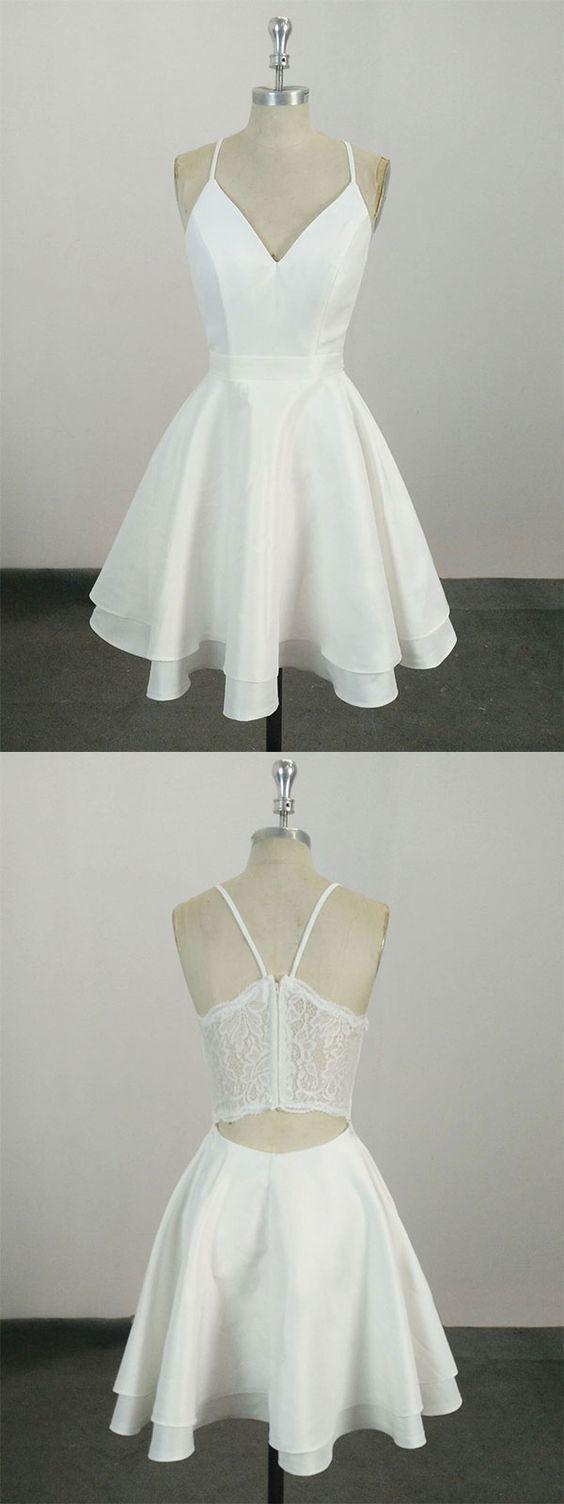 sexy white satin sleeveless fanshion dress,lace spaghetti-straps homecoming dress